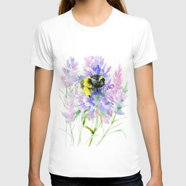 Bumblebee and Lavender Flowers, nature bee honey making decor T-shirt
