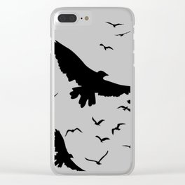 FLOCK OF RAVENS IN GREY SKY Clear iPhone Case
