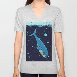 Downward Whale Unisex V-Neck