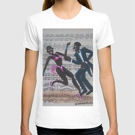 African American 'Apollo Theater Sheet Music Portrait No. 7' Lindy Hop by Miguel Covarrubias T-shirt