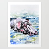 hippo Art Prints featuring Hippo by Tricia Kibler