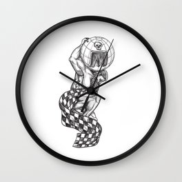 Atlas Lifting Globe Racing Flag Tattoo Wall Clock