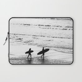 Surfers, Black and White, Beach Photography Laptop Sleeve