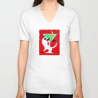 martini V-neck T-shirts featuring Moon Martini by Gem S Visionary