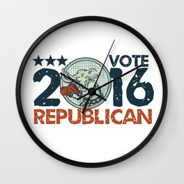 Vote Republican 2016 Elephant Boxer Circle Etching Wall Clock