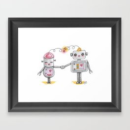 Cute robots in love Framed Art Print