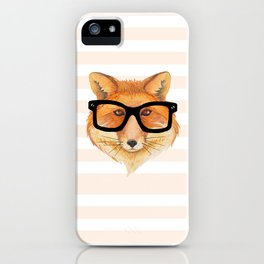 Hipster Fox wearing Black Glasses iPhone Case