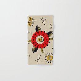 Red Mid Century Modern Flower  Hand & Bath Towel