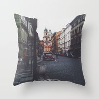 prague Throw Pillows featuring PRAGUE by REASONandRHYME