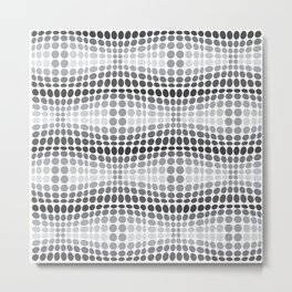 Dottywave - Grey scale wave dots pattern Metal Print