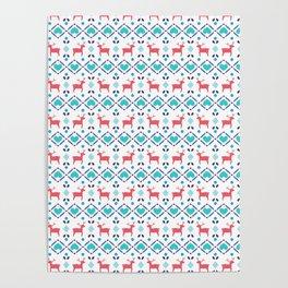 Deers & Hearts Pattern Poster