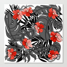 Tropical Flower Pattern - Black and White Canvas Print