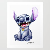 stitch Art Prints featuring Stitch by J Spiggle