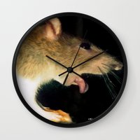 cunt Wall Clocks featuring funny painting rat BDSM fetish dick cock suck oral sex pussy cunt transgender anal anal fuck porn by Velveteen Rodent