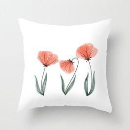Spring Flower Trio Peach  Throw Pillow