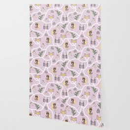 Childish seamless pattern with princess and dragon Wallpaper