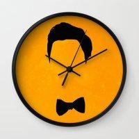 darren criss Wall Clocks featuring Darren Criss Hair & Bowtie by byebyesally