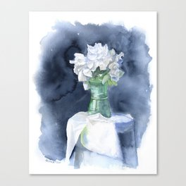 White Peonies Watercolor Canvas Print
