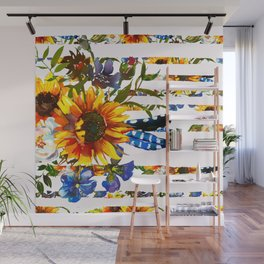 Hand painted yellow orange blue watercolor sunflower pattern Wall Mural