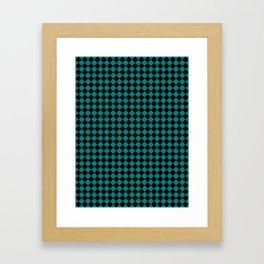 Black and Teal Green Diamonds Framed Art Print