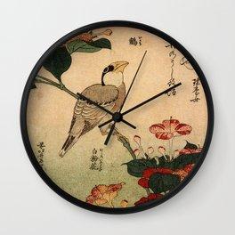 Hokusai,Hawfinch and mirabilis - manga, japan,hokusai,japanese,北斎,ミュージシャン Wall Clock