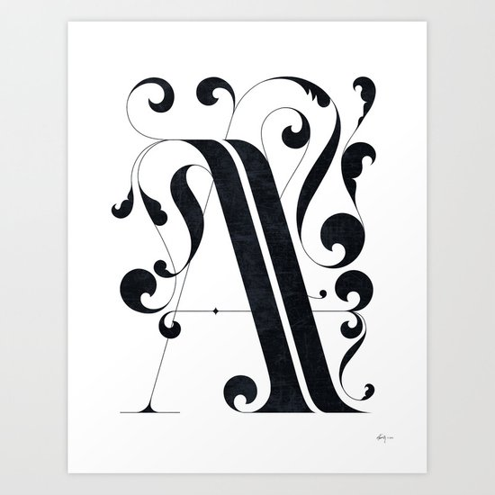 "Drop cap ""A"" Art Print"