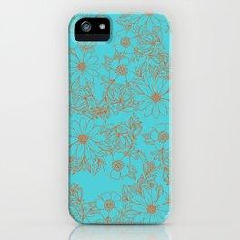 Modern orange aqua hand drawn floral iPhone Case