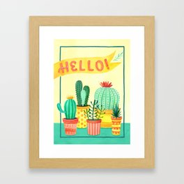 Hello! Colorful Watercolor Cactus and Succulent in Patterned Planters Framed Art Print
