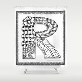 Zentangle R Monogram Alphabet Illustration Shower Curtain