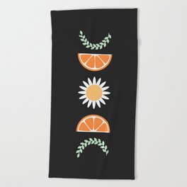 Floral Fruit Moon Phases Beach Towel