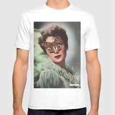 JEAN KENT.  (PIN-UPS). White MEDIUM Mens Fitted Tee