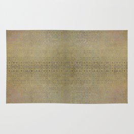 Gold and Silver Leaf Bridget Riley Inspired Pattern Rug