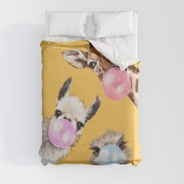 Bubble Gum Gang in Yellow Duvet Cover