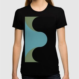 A strong Blue circular wave entering a green and black seaside. T-shirt