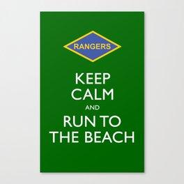 KEEP CALM AND RUN TO THE BEACH. Canvas Print