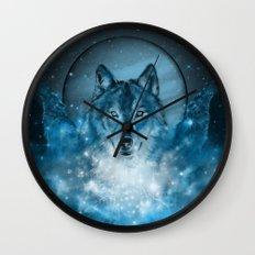 wolf in blue Wall Clock