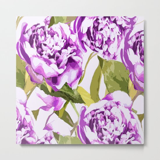 Peonies on a white background - #Society6 #buyart Metal Print