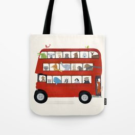 the big little red bus Tote Bag
