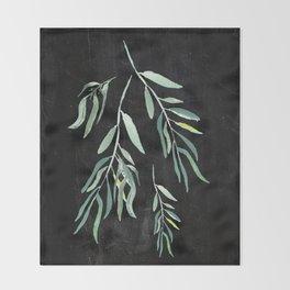 Eucalyptus Branches On Chalkboard II Throw Blanket