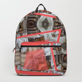 Living Coral Pantone Colour of the Year 2019 pattern decoration with neoclassical architecture Backpack