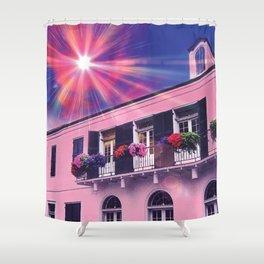 Sunshine on Pink New Orleans French Quarter Nola Home Floral Botanical Garden Cotton Candy Blue Sky Shower Curtain
