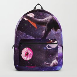 Outer Space Cat Riding Dinosaur Unicorn - Donut Backpack
