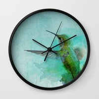 hummingbird Wall Clocks featuring Hummingbird by Marvelis