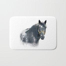 Horse with Golden Bridle Bath Mat