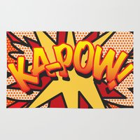 comic book Area & Throw Rugs featuring Comic Book KA-POW! by Thisisnotme
