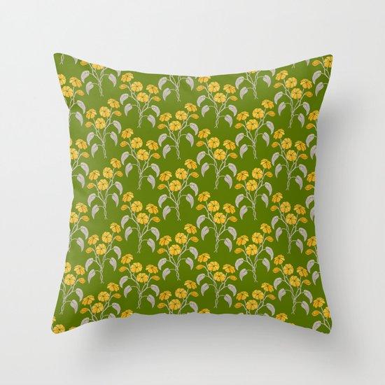 Flowers Green Pattern Throw Pillow