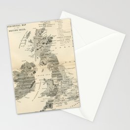 Vintage and Retro Geological Map British Isles Stationery Cards