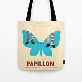 Papillon, Steve McQueen vintage movie poster, retrò playbill, Dustin Hoffman, hollywood film Tote Bag