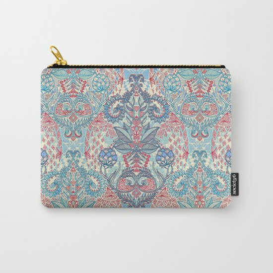 Botanical Geometry - nature pattern in red, blue & cream Carry-All Pouch
