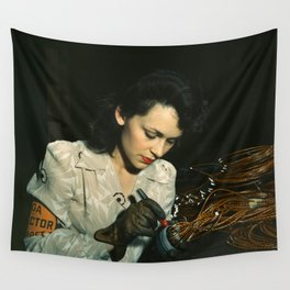 WWII Woman Aircraft Worker Wall Tapestry